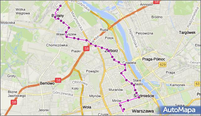 Mapa Polski Targeo, Autobus N44 - trasa ZAJEZDNIA ŻOLIBORZ - DW.CENTRALNY. ZTM Warszawa na mapie Targeo