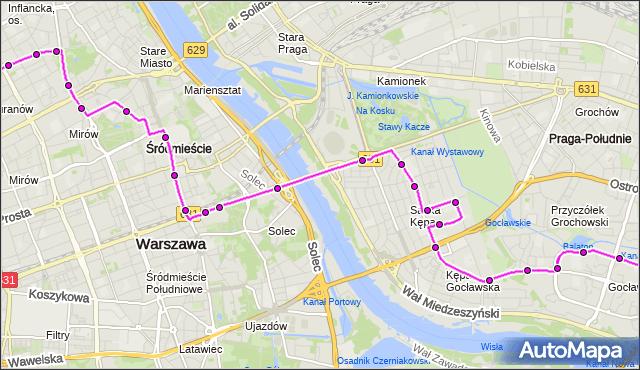 Mapa Polski Targeo, Autobus 111 - trasa ESPERANTO - GOCŁAW. ZTM Warszawa na mapie Targeo