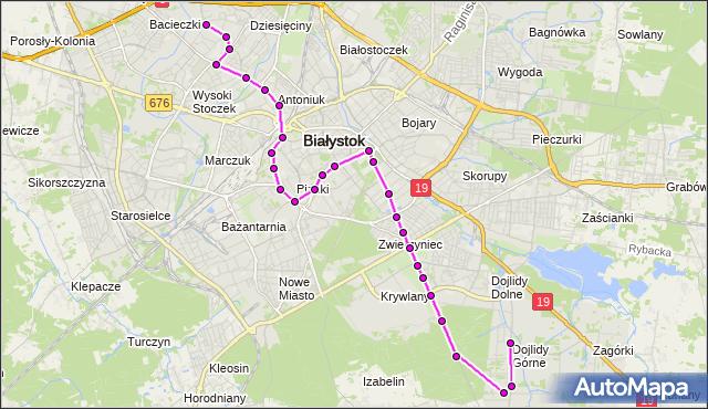 Mapa Polski Targeo, Autobus 19 - trasa - DOJLIDY GÓRNE /PĘTLA(701)(nr inw. 701). BKM na mapie Targeo