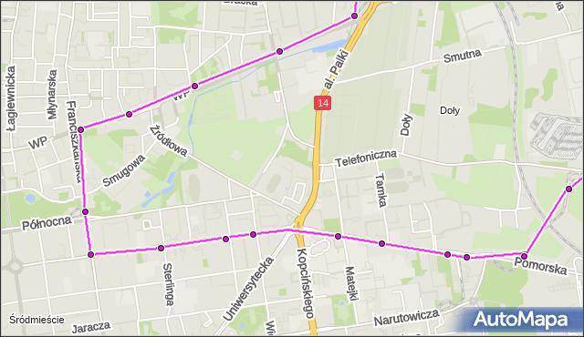 Mapa Polski Targeo, Tramwaj 6 - trasa Strykowska - ET-1. MPKLodz na mapie Targeo