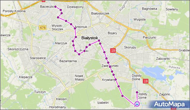 Rozkład jazdy autobusu 19 na przystanku Dojlidy Górne/Brzoskwiniowa. BKM na mapie Targeo