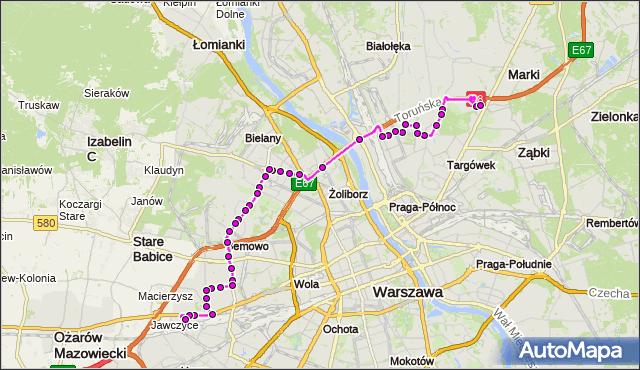 Mapa Polski Targeo, Autobus 112 - trasa CH MARKI MK - KAROLIN. ZTM Warszawa na mapie Targeo