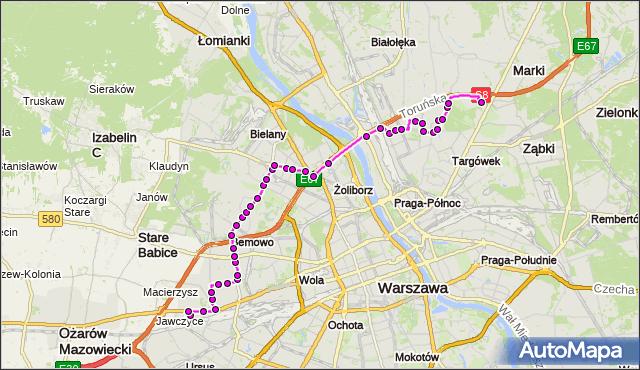 Mapa Polski Targeo, Autobus 112 - trasa KAROLIN - CH MARKI MK. ZTM Warszawa na mapie Targeo