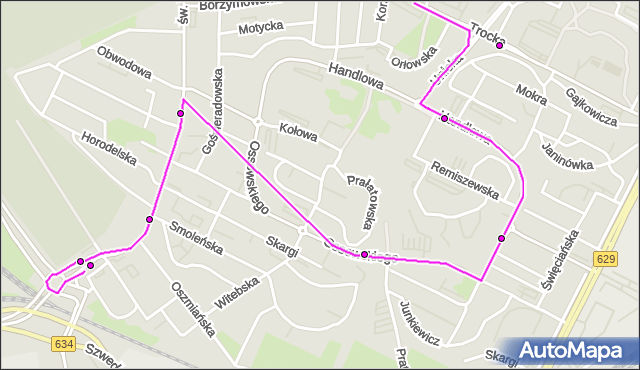 Mapa Polski Targeo, Autobus 212 - trasa TARGÓWEK - RONDO ŻABA. ZTM Warszawa na mapie Targeo