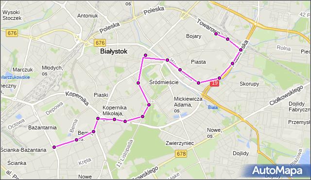 Mapa Polski Targeo, Autobus 8 - trasa - Zajezdnia; dojazd do przystanku:SKŁADOWA/ZDT(436)(nr inw. 436). BKM na mapie Targeo