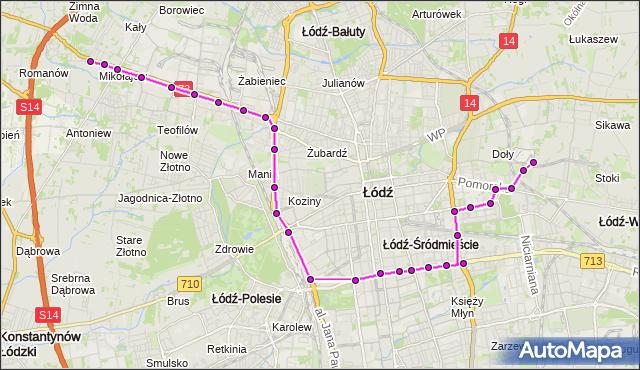 Mapa Polski Targeo, Tramwaj 8 - trasa Chochoła - ET-1. MPKLodz na mapie Targeo