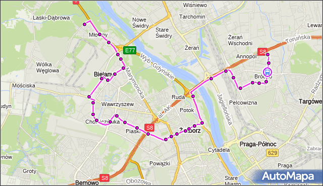 Rozkład jazdy autobusu 114 na przystanku Szpital Bródnowski 04. ZTM Warszawa na mapie Targeo
