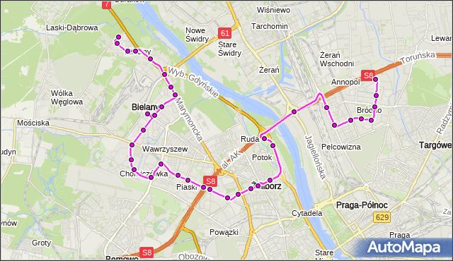 Mapa Polski Targeo, Autobus 114 - trasa BRÓDNO-PODGRODZIE - MŁOCINY-UKSW. ZTM Warszawa na mapie Targeo