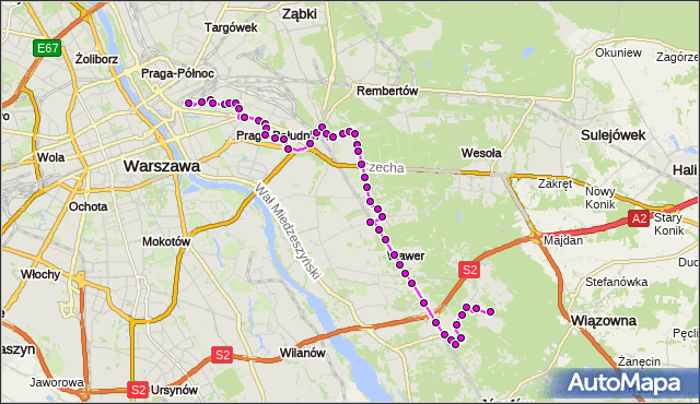 Mapa Polski Targeo, Autobus 115 - trasa DW.WSCHODNI (LUBELSKA) - ALEKSANDRÓW. ZTM Warszawa na mapie Targeo