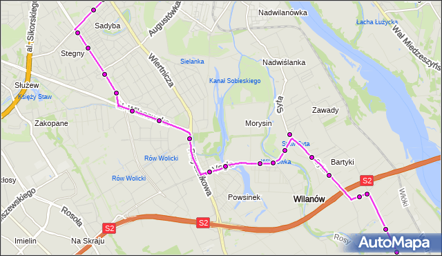 Rozkład jazdy autobusu 164 na przystanku os.Bernardyńska 01. ZTM Warszawa na mapie Targeo