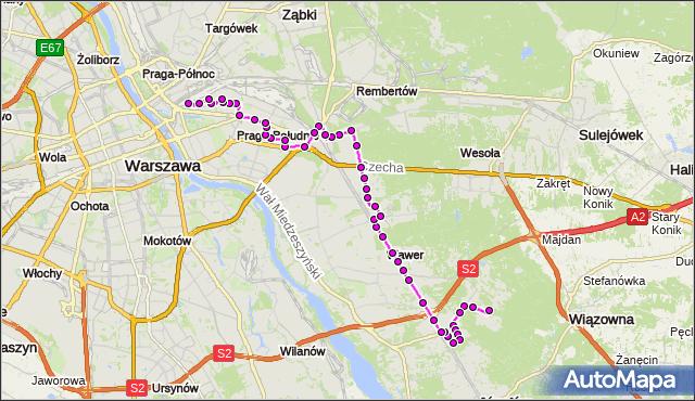 Mapa Polski Targeo, Autobus 115 - trasa ALEKSANDRÓW - DW.WSCHODNI (LUBELSKA). ZTM Warszawa na mapie Targeo