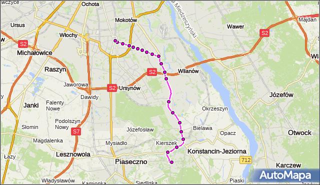 Mapa Polski Targeo, Autobus N50 - trasa SKOLIMÓW KJ - METRO WILANOWSKA. ZTM Warszawa na mapie Targeo