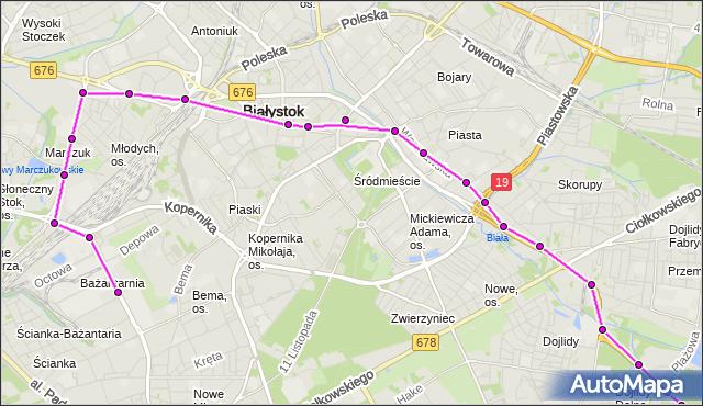 Mapa Polski Targeo, Autobus 2 - trasa - Zajezdnia; dojazd do przystanku:SKŁADOWA/HURTOWA(440)(nr inw. 440). BKM na mapie Targeo