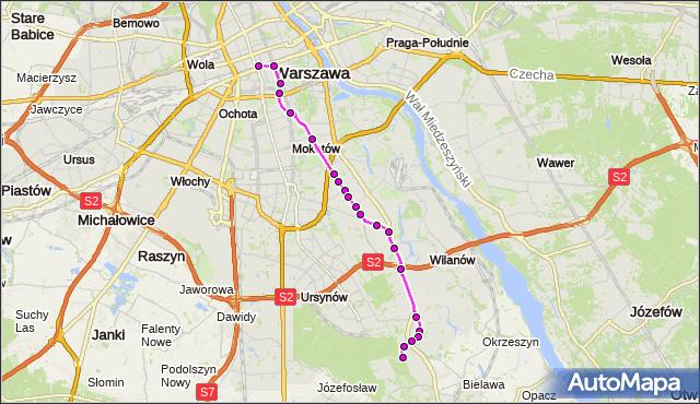 Mapa Polski Targeo, Autobus 519 - trasa DW.CENTRALNY - POWSIN-PARK KULTURY. ZTM Warszawa na mapie Targeo