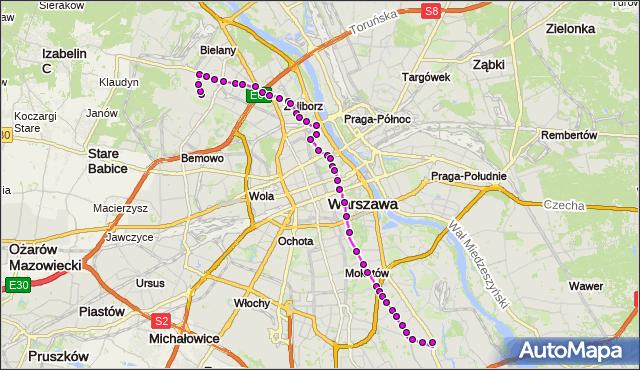 Mapa Polski Targeo, Autobus 116 - trasa CHOMICZÓWKA - WILANÓW. ZTM Warszawa na mapie Targeo