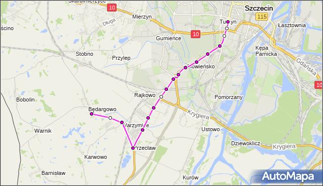 Mapa Polski Targeo, Autobus 83 - trasa - Plac Kościuszki. ZDiTM Szczecin na mapie Targeo