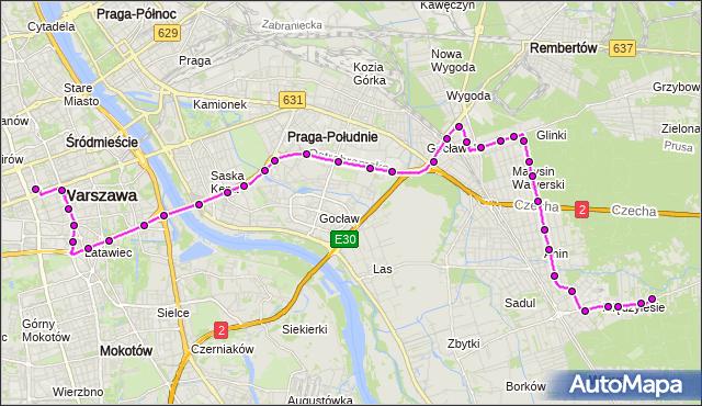 Mapa Polski Targeo, Autobus N25 - trasa DW.CENTRALNY - MIĘDZYLESIE. ZTM Warszawa na mapie Targeo
