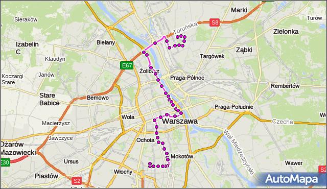 Mapa Polski Targeo, Autobus 118 - trasa SUWALSKA - SPARTAŃSKA. ZTM Warszawa na mapie Targeo