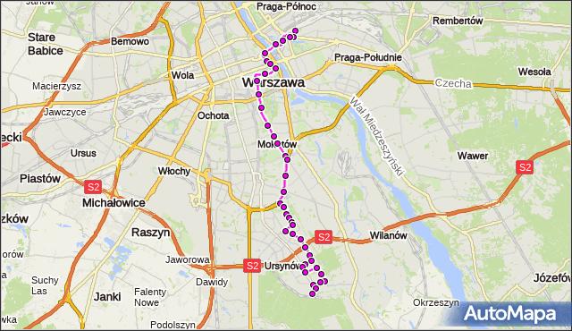 Mapa Polski Targeo, Autobus 166 - trasa DW.WSCHODNI (LUBELSKA) - KABATY-STP. ZTM Warszawa na mapie Targeo
