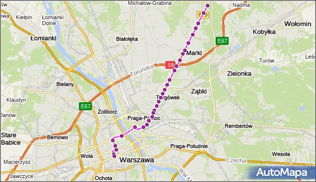 Mapa Polski Targeo, Autobus N61 - trasa STRUGA MK - DW.CENTRALNY. ZTM Warszawa na mapie Targeo