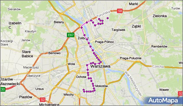 Mapa Polski Targeo, Autobus 118 - trasa SPARTAŃSKA - SUWALSKA. ZTM Warszawa na mapie Targeo