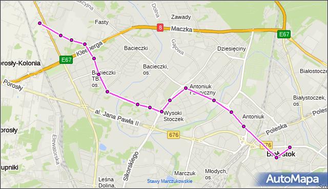 Mapa Polski Targeo, Autobus 7 - trasa FASTY/GIEŁDA - Zajezdnia; dojazd do przystanku:CZĘSTOCHOWSKA(302)(nr inw. 302). BKM na mapie Targeo