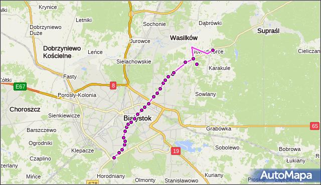 Mapa Polski Targeo, Autobus 3 - trasa WIADUKT/PKP - OGRODNICZKI/PĘTLA(409)(nr inw. 409). BKM na mapie Targeo