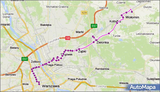 Mapa Polski Targeo, Autobus N62 - trasa DW.CENTRALNY - OS.NIEPODLEGŁOŚCI WM. ZTM Warszawa na mapie Targeo