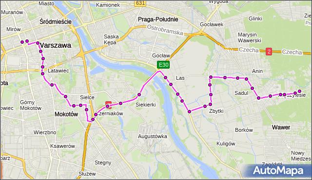 Mapa Polski Targeo, Autobus 119 - trasa DW.CENTRALNY - MIĘDZYLESIE. ZTM Warszawa na mapie Targeo