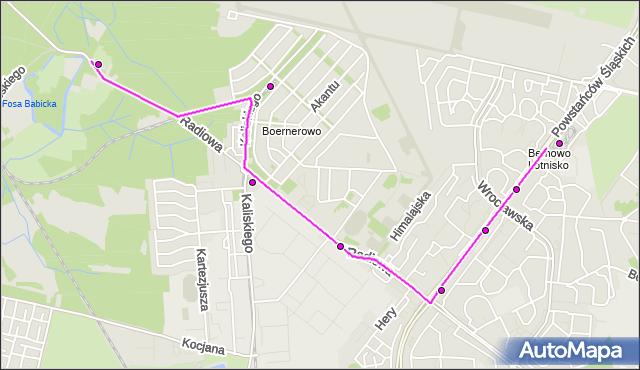 Mapa Polski Targeo, Autobus 220 - trasa FORT RADIOWO - NOWE BEMOWO. ZTM Warszawa na mapie Targeo