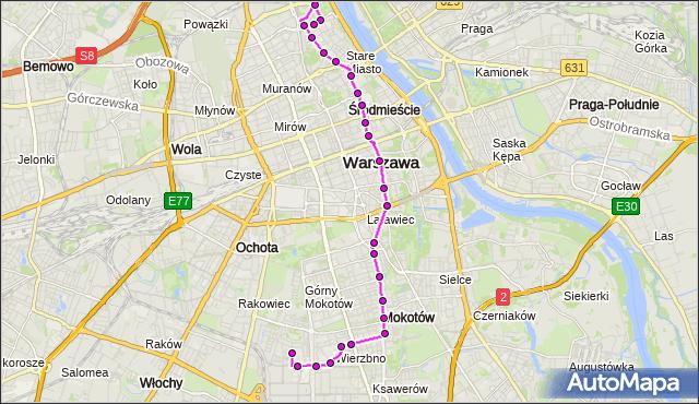 Mapa Polski Targeo, Autobus 222 - trasa SPARTAŃSKA - KONWIKTORSKA. ZTM Warszawa na mapie Targeo