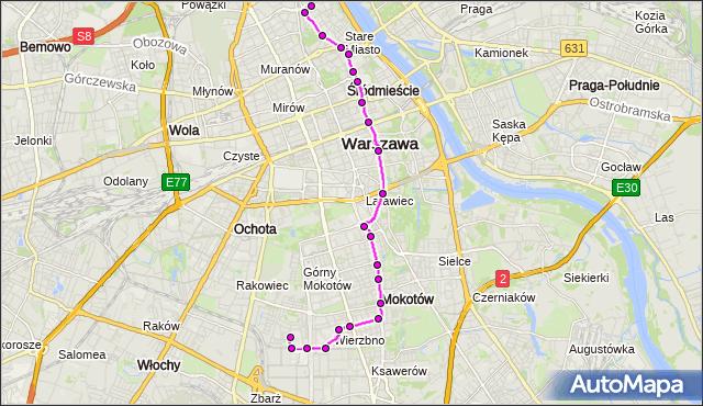 Mapa Polski Targeo, Autobus 222 - trasa KONWIKTORSKA - SPARTAŃSKA. ZTM Warszawa na mapie Targeo