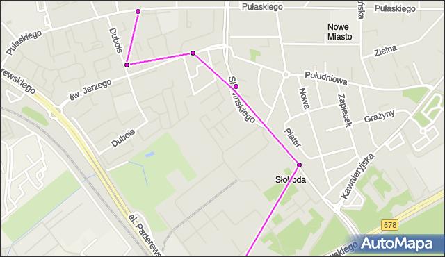 Mapa Polski Targeo, Autobus 23 - trasa WIADUKT/PKP - Zajezdnia; dojazd do przystanku:PUŁASKIEGO/PRZEDSZK.(376)(nr inw. 376). BKM na mapie Targeo