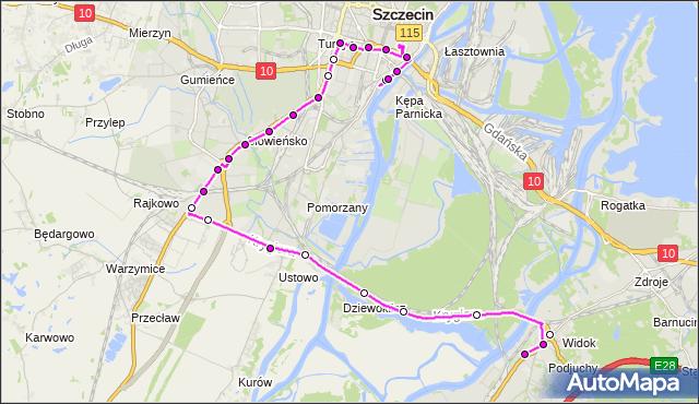 Mapa Polski Targeo, Autobus 61 - trasa Podjuchy Pętla - Dworzec Główny. ZDiTM Szczecin na mapie Targeo