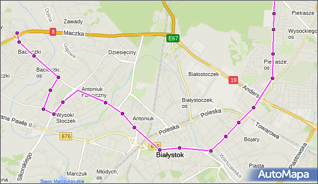 Rozkład jazdy autobusu 9 na przystanku Antoniuk F./Konstytucji 3 Maja. BKM na mapie Targeo