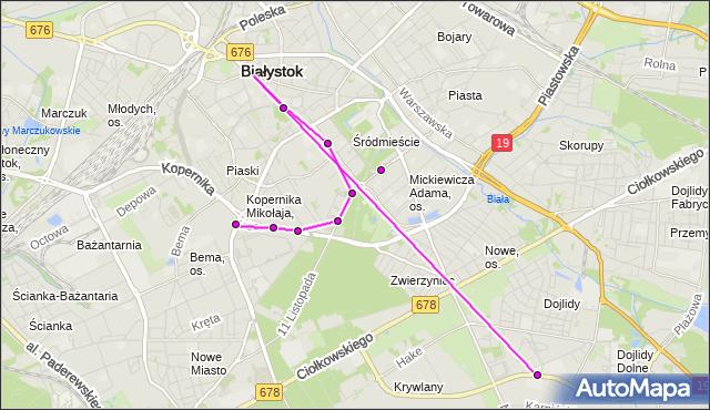 Mapa Polski Targeo, Autobus 10 - trasa DWORZEC - Zajezdnia; dojazd do przystanku:WIEJSKA/KOPERNIKA(526)(nr inw. 526). BKM na mapie Targeo