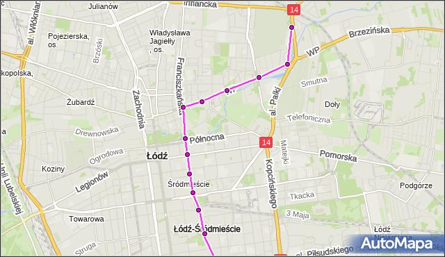 Rozkład jazdy tramwaju 1 na przystanku Wojska Polskiego/Franciszkańska. MPK Łódź na mapie Targeo