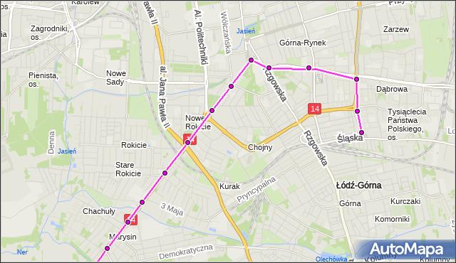 Mapa Polski Targeo, Tramwaj 13 - trasa Śląska - ET-2. MPKLodz na mapie Targeo
