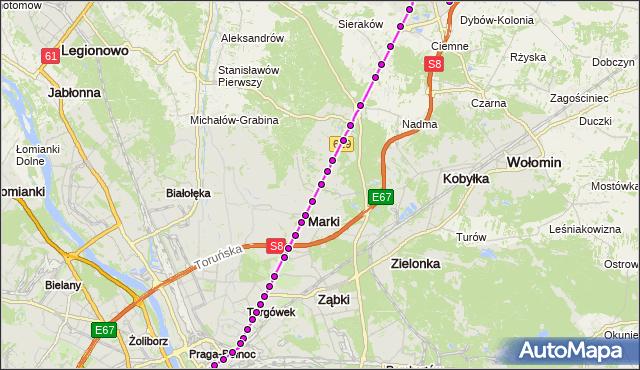 Mapa Polski Targeo, Autobus 738 - trasa OS.VICTORIA RD - DW.WSCHODNI (KIJOWSKA). ZTM Warszawa na mapie Targeo