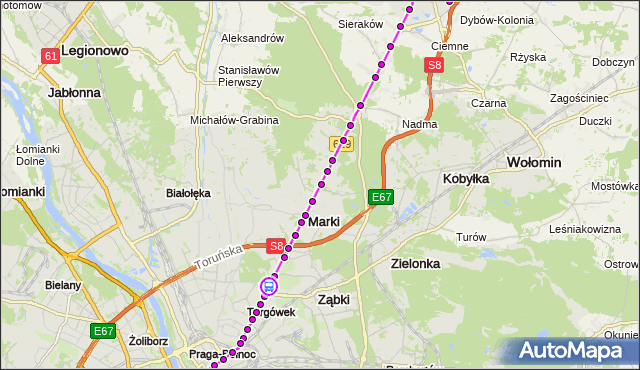 Rozkład jazdy autobusu 738 na przystanku Krynoliny 01. ZTM Warszawa na mapie Targeo