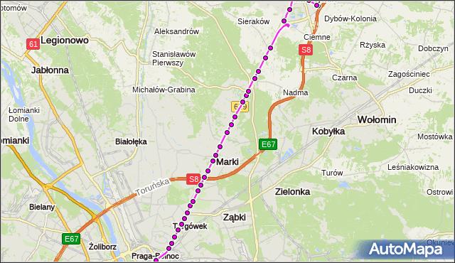Mapa Polski Targeo, Autobus 738 - trasa DW.WSCHODNI (KIJOWSKA) - OS.VICTORIA RD. ZTM Warszawa na mapie Targeo