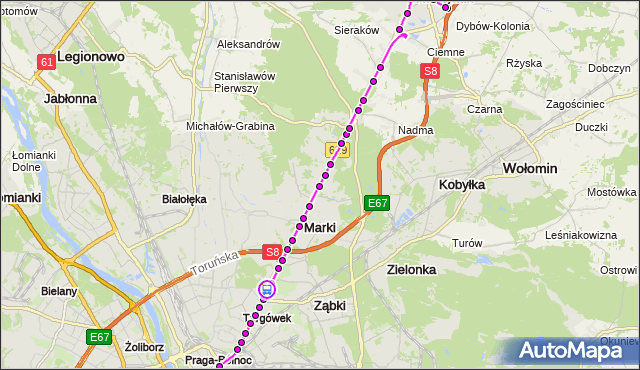 Rozkład jazdy autobusu 738 na przystanku Krynoliny 02. ZTM Warszawa na mapie Targeo