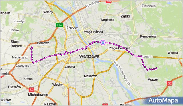 Rozkład jazdy autobusu 125 na przystanku Praga-Płd.-Ratusz 01. ZTM Warszawa na mapie Targeo