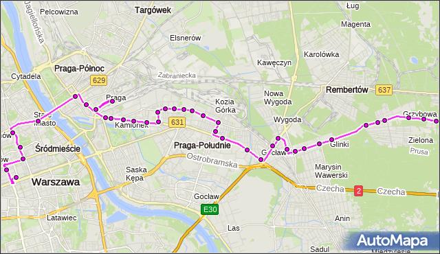 Mapa Polski Targeo, Autobus N71 - trasa WOLA GRZYBOWSKA - DW.CENTRALNY. ZTM Warszawa na mapie Targeo