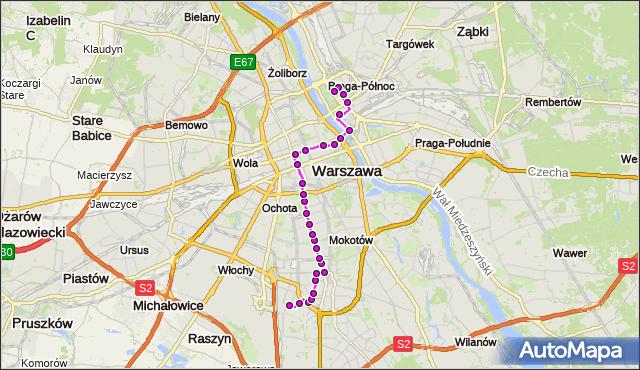 Mapa Polski Targeo, Autobus 174 - trasa BOKSERSKA - PL.HALLERA. ZTM Warszawa na mapie Targeo