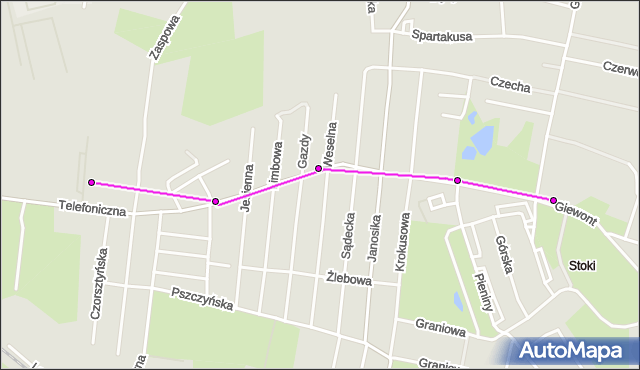 Mapa Polski Targeo, Tramwaj 15 - trasa Stoki - ET-1. MPKLodz na mapie Targeo