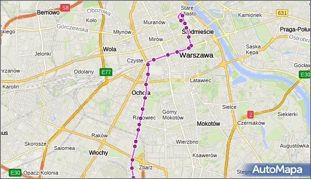 Mapa Polski Targeo, Autobus 175 - trasa PL.PIŁSUDSKIEGO - LOTNISKO CHOPINA. ZTM Warszawa na mapie Targeo