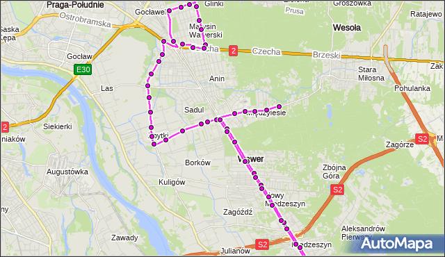 Mapa Polski Targeo, Autobus 305 - trasa MIĘDZYLESIE - STRUSIA. ZTM Warszawa na mapie Targeo