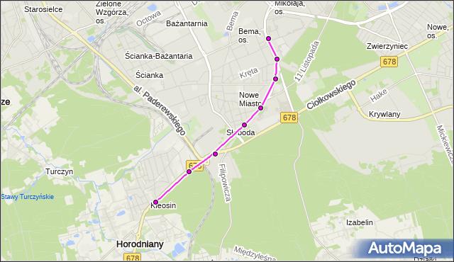 Mapa Polski Targeo, Autobus 10 - trasa - Zajezdnia; dojazd do przystanku:WIEJSKA/POLITECHNIKA(529)(nr inw. 529). BKM na mapie Targeo