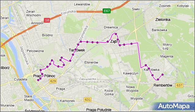 Mapa Polski Targeo, Autobus 199 - trasa PL.HALLERA - REMBERTÓW-AON. ZTM Warszawa na mapie Targeo
